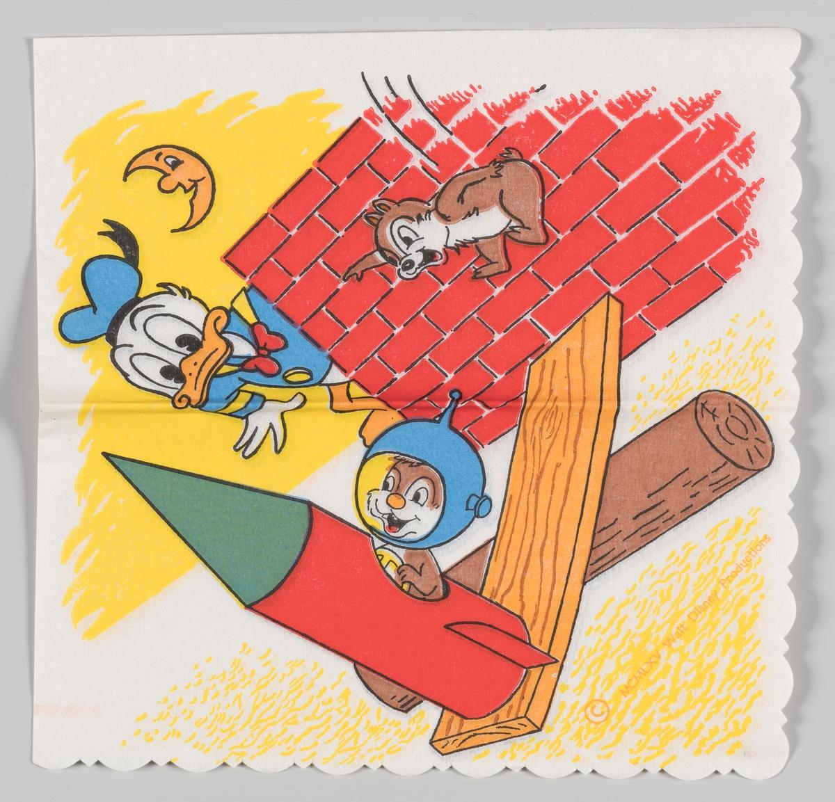 Donald Duck ser på Snipp og Snapp som prøver å få en rakett til å fly  Samme motiv på serviett MIA.00007-003-0156 og MIA.00007-003-0158