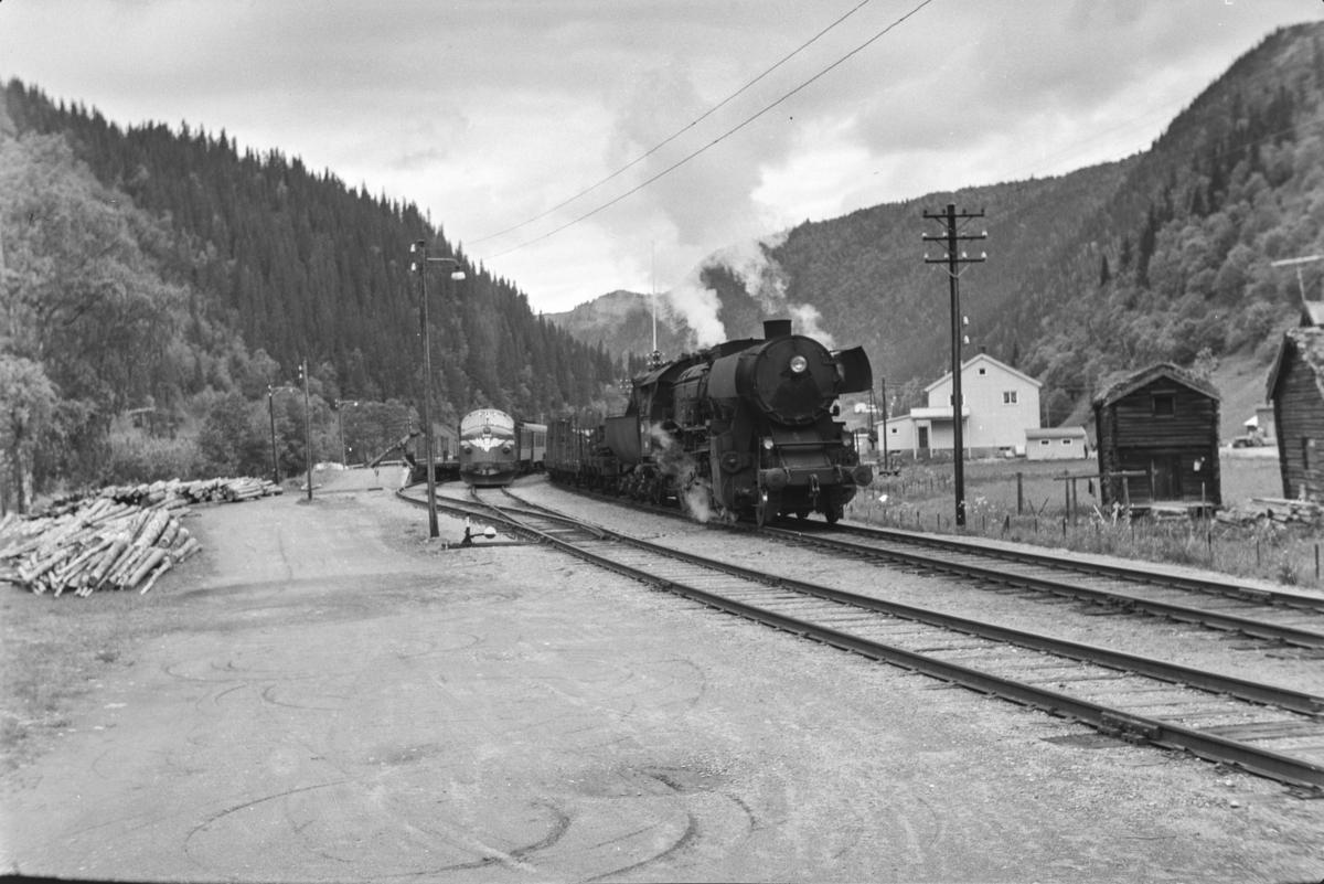 Underveisgodstoget fra Trondheim til Hamar over Røros, tog 5712, forbikjøres av dagtoget fra Trondheim til Oslo Ø, hurtigtog 302, på Rognes stasjon. Godstoget trekkes av damplokomotiv type 63a nr. 5860, dagtoget trekkes av diesellokomotiv type Di 3.