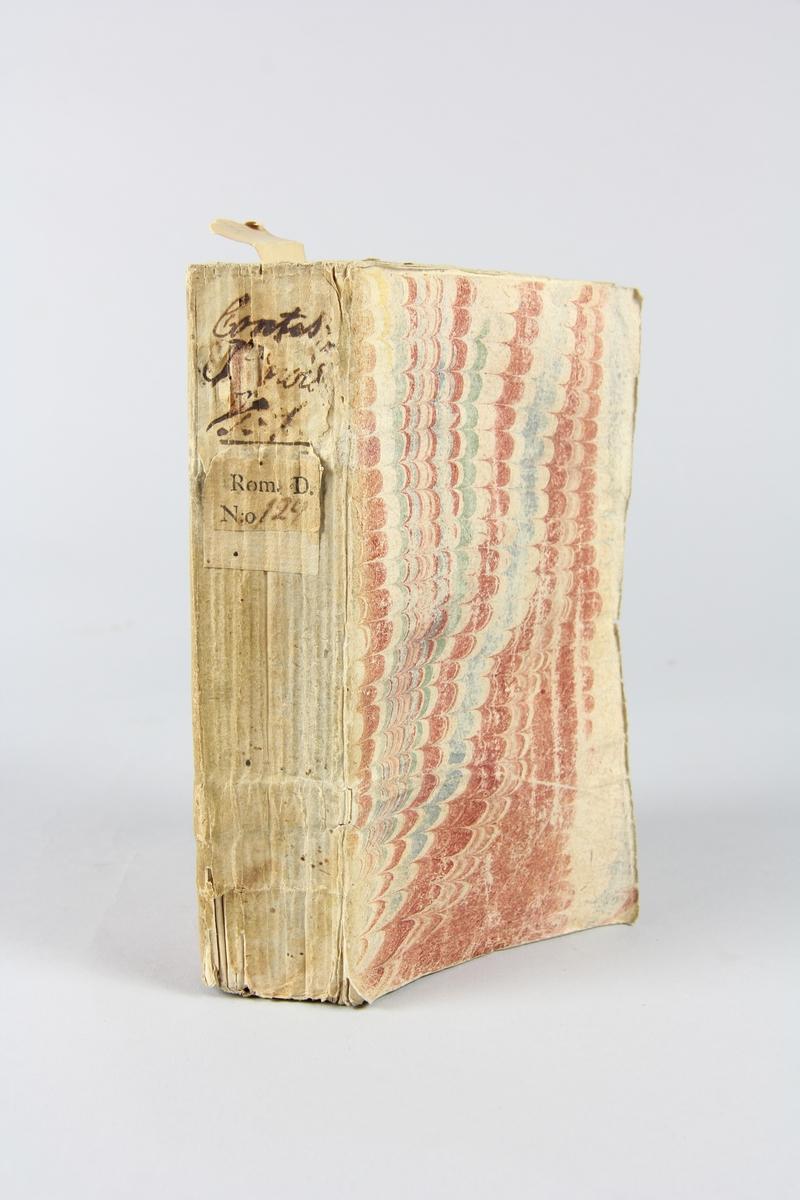"""Bok, häftad, """"Contes chinois ou les avantures merveilleuses du mandarin Fum-Hoam"""", del 1, tryckt i Utrecht 1733. Pärm av marmorerat papper, oskurna snitt. På ryggen klistrade pappersetiketter med volymens namn och samlingsnummer. Ryggen blekt. Illustrerad med kopparstick."""