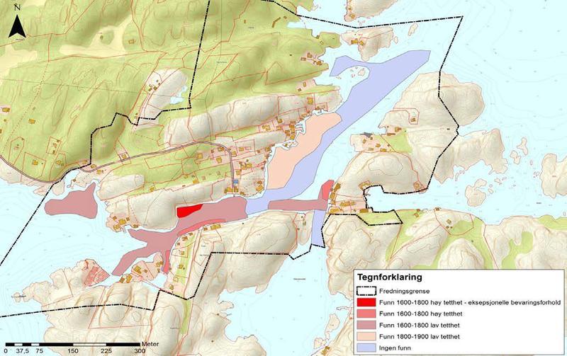 Kart over Ny-Hellesund med fredningsgrense og funnområder markert.