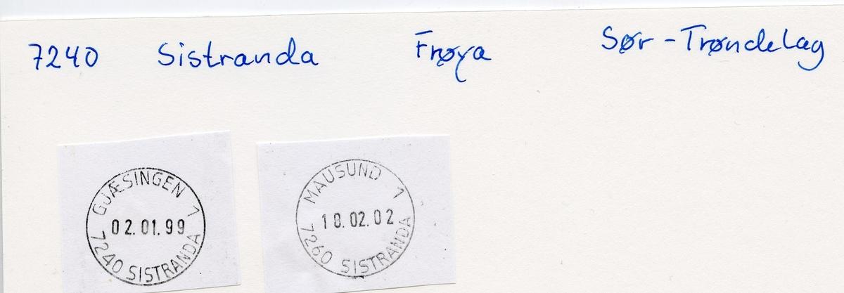 Stempelkatalog  7260 Sistranda, Frøya kommune, Sør-Trøndelag