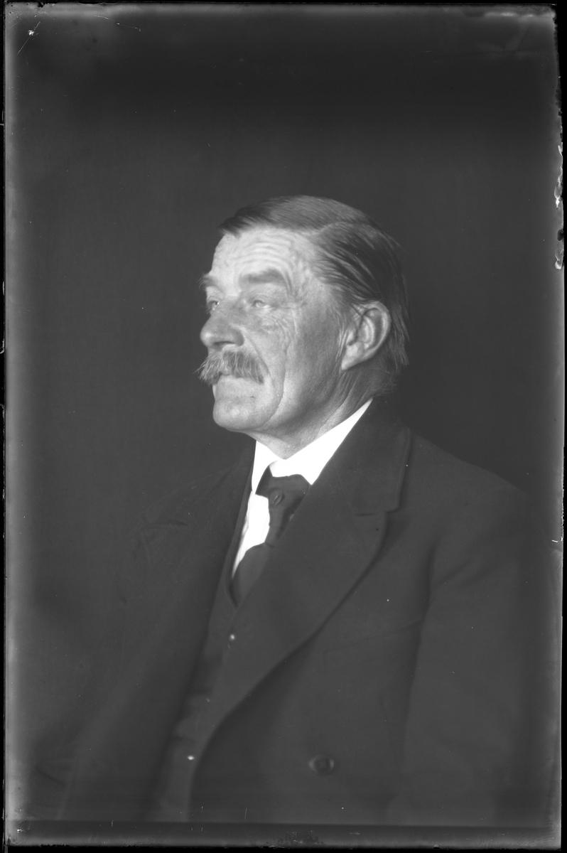 """En man i mörk kostym porträtterad i halvprofil. I fotografens egna anteckningar står det """"Skoglund"""". Tolkat som Johan Gottfrid Johansson Skoglund."""