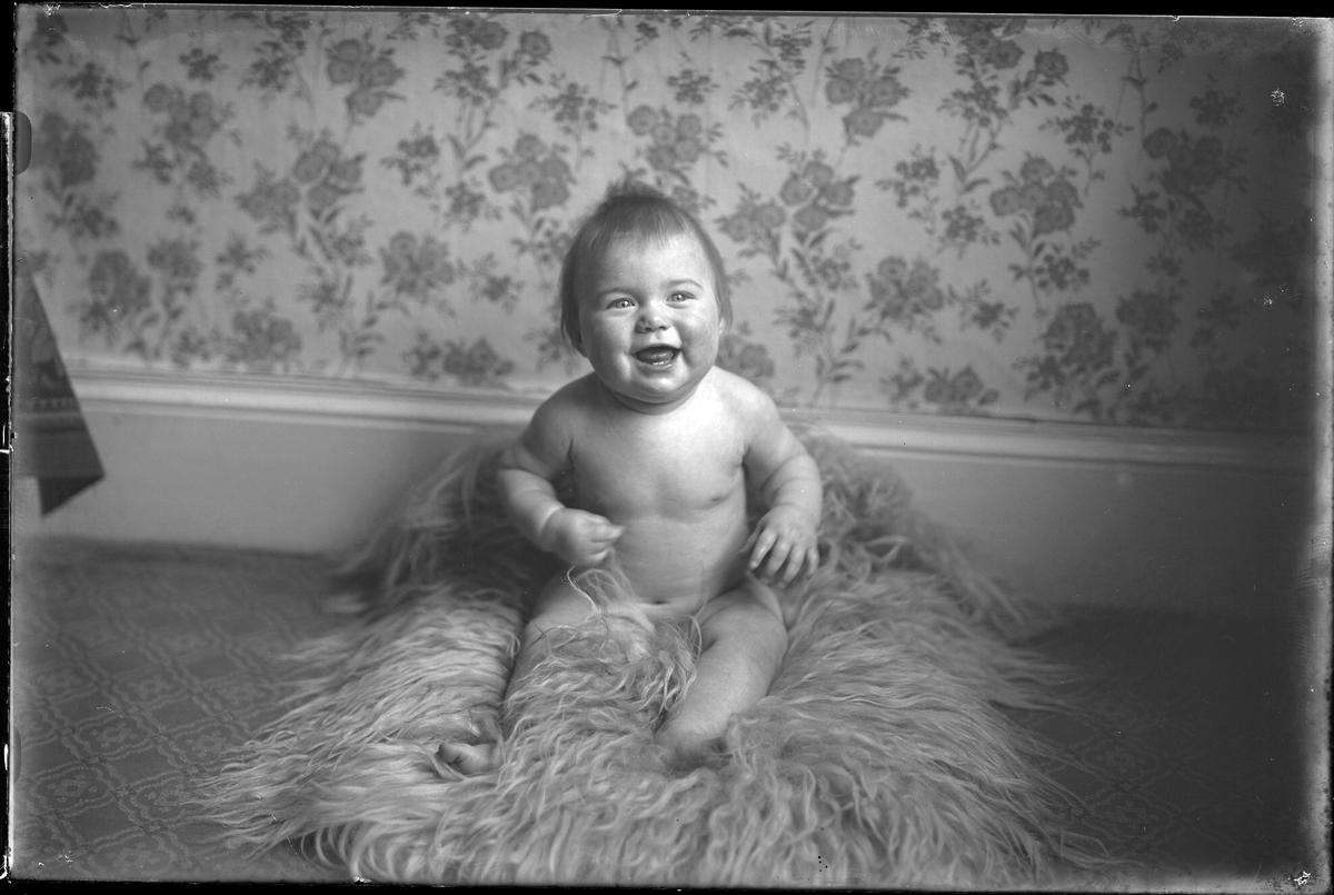 """Ett litet barn sitter på en fäll. I fotografens egna anteckningar står det """"Paul Anderssons dotter"""". Tolkat som Gunvor Linnéa Andersson."""