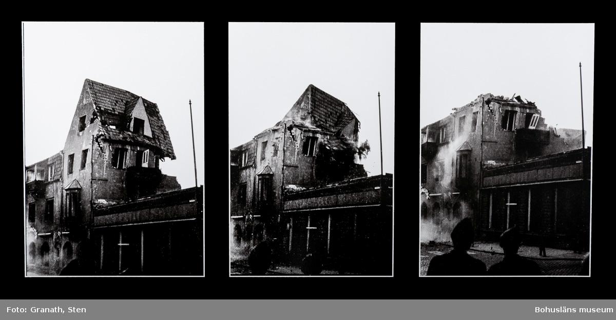 Montage av tre fotografier som visar rivningsförloppet av Uddevalla stadshotell när det faller, i förgrunden syns två personer (den vänstra troligen polis) som tittar på.