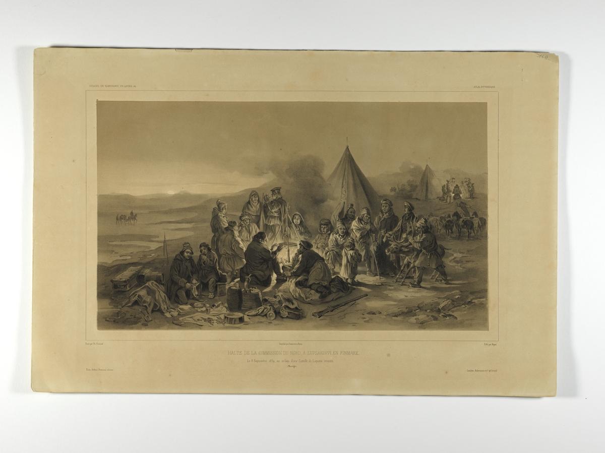 Ekspedisjonsmedlemmer rundt bål. Rast i teltleir hos flyttsamer. Lupsäkoppi 1839.