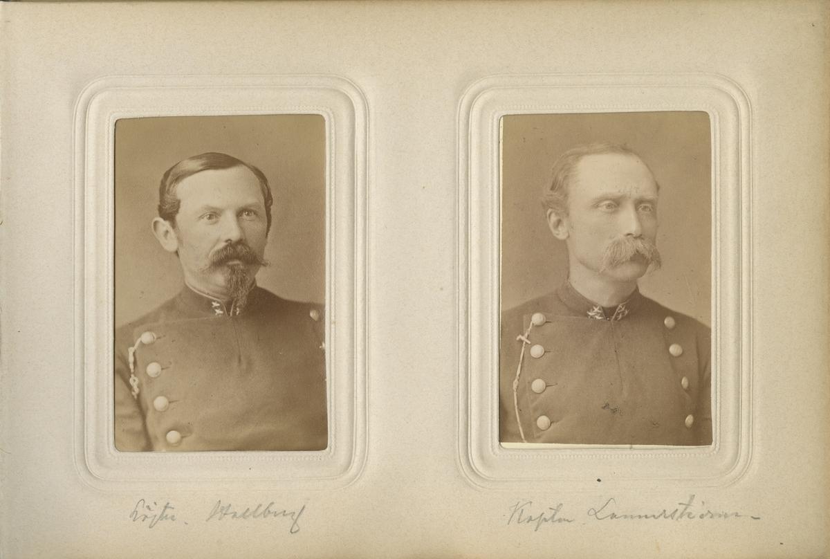 Porträtt av Sven Jonas Hallberg, löjtnant vid Södra skånska infanteriregementet I 25. Se även bild AMA.0007590.