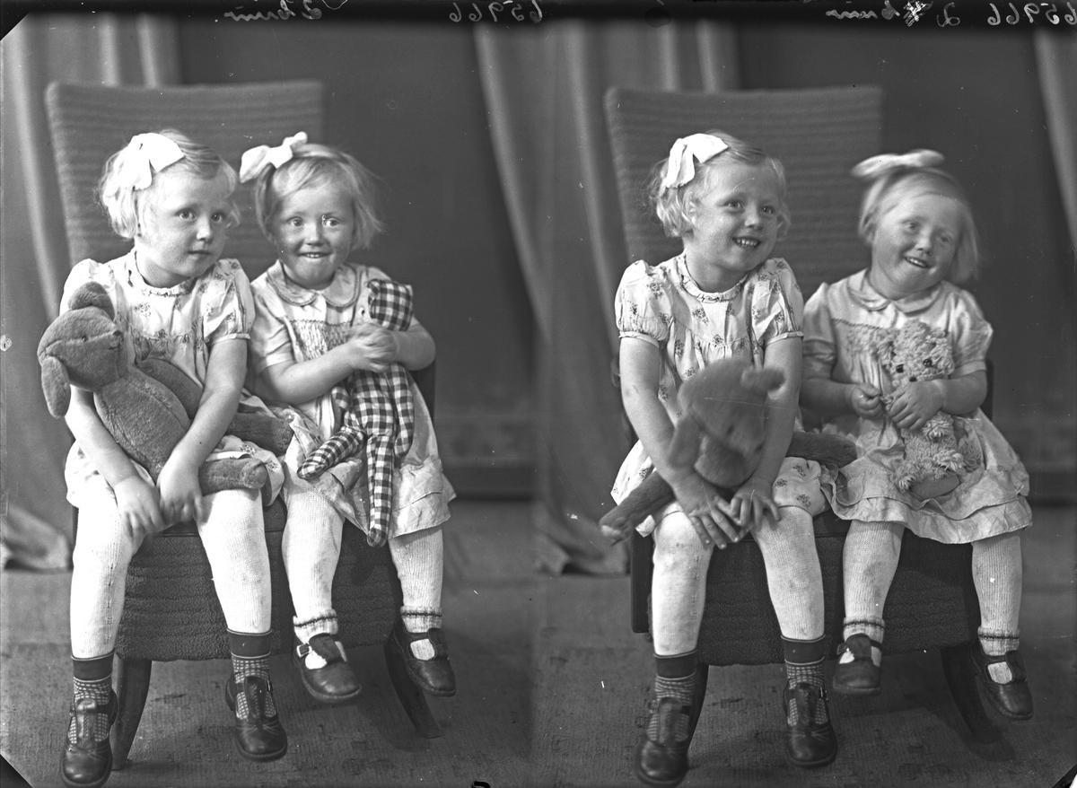Gruppebilde. Familiegruppe på to. To unge piker i lyse kjoler med hver sitt kosedyr. Søstre. Bestilt av Hr. Lars  Enerstvedt. Tjernagel.