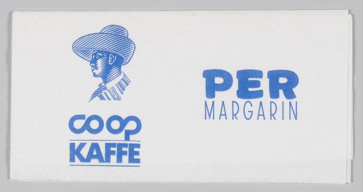 En mann med en bredbremmet hatt og reklame for Domus, Coop kaffe og Per magarin.  Samme reklametekst på MIA.00007-004-0217.