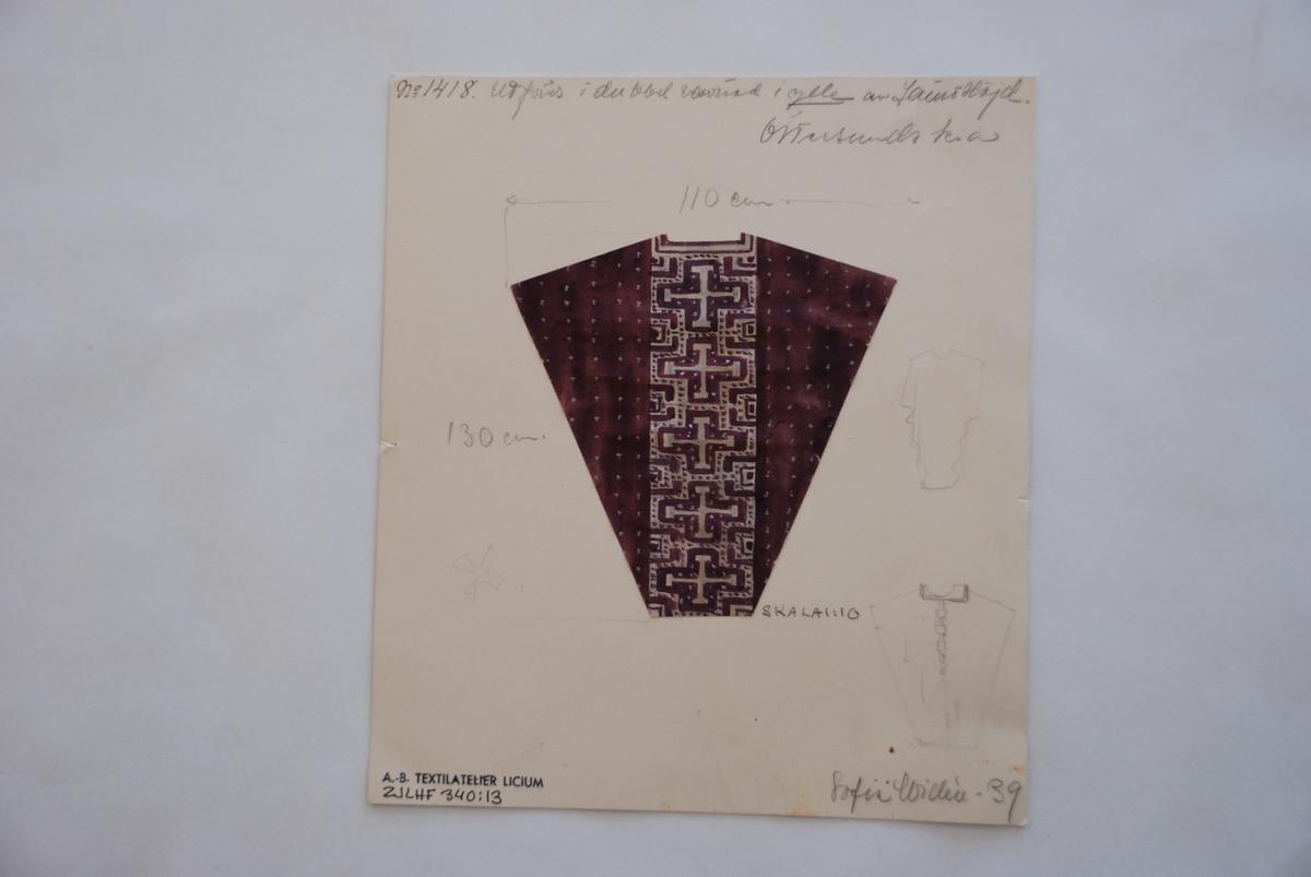 Skiss till prästalba i finnväv komponerad av Sofia Widén.