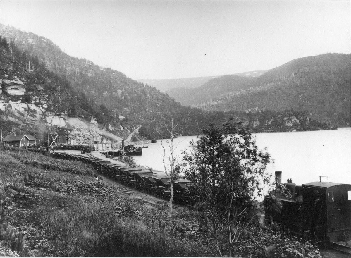 Damplokomotivet ODIN med kisvogner ved Hellarmo.