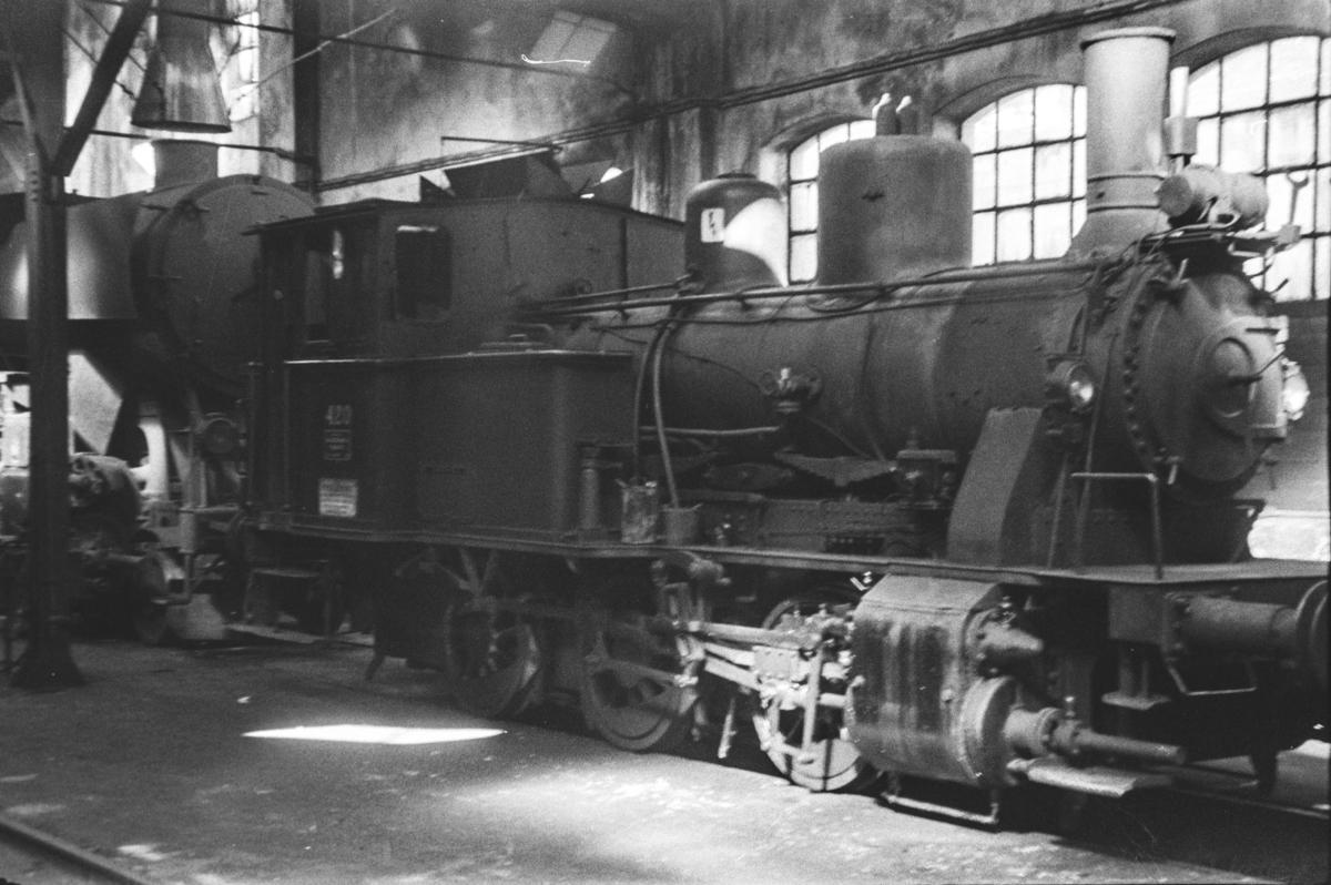 Damplokomotiv type 25d nr. 420 i Gamlestallen i Lodalen i Oslo.