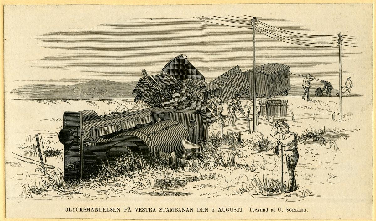 """Ur Illustrerad Tidning 16/8 1873. Träsnitt """"Olyckshändelse på Västra stambanan 5 Augusti 1873."""""""