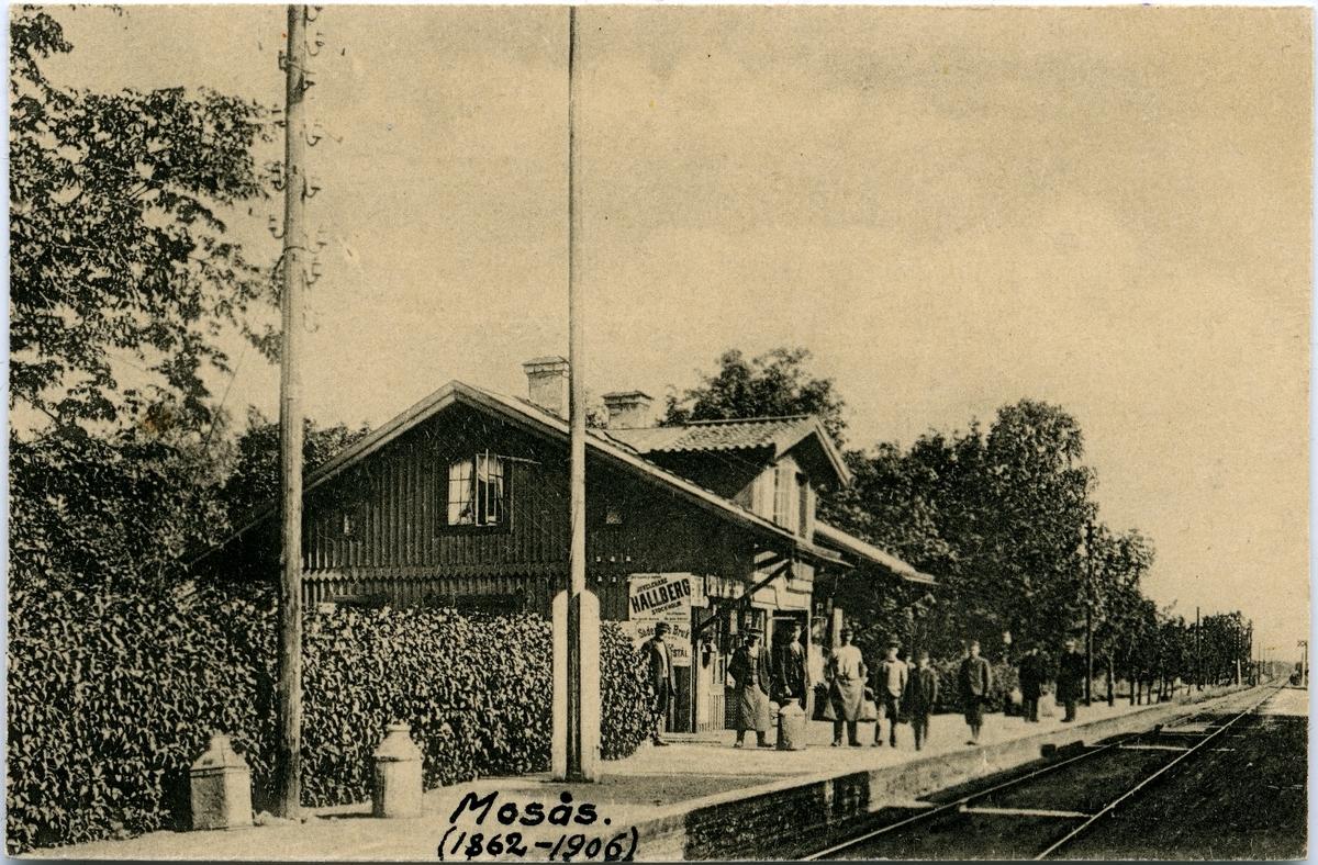 Stationshuset i Mosås. Text på bilden - Mosås 1862-1906.