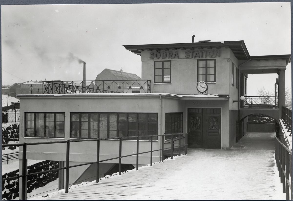 Stockholm Södra personstation, byggd 1926. Bild av tillbyggnaden uppförd 1937.