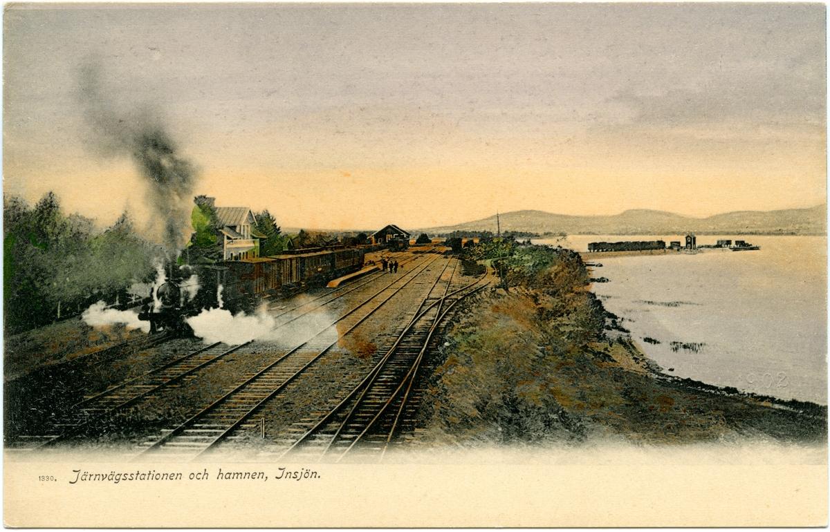 Järnvägsstationen och hamnen i Insjön