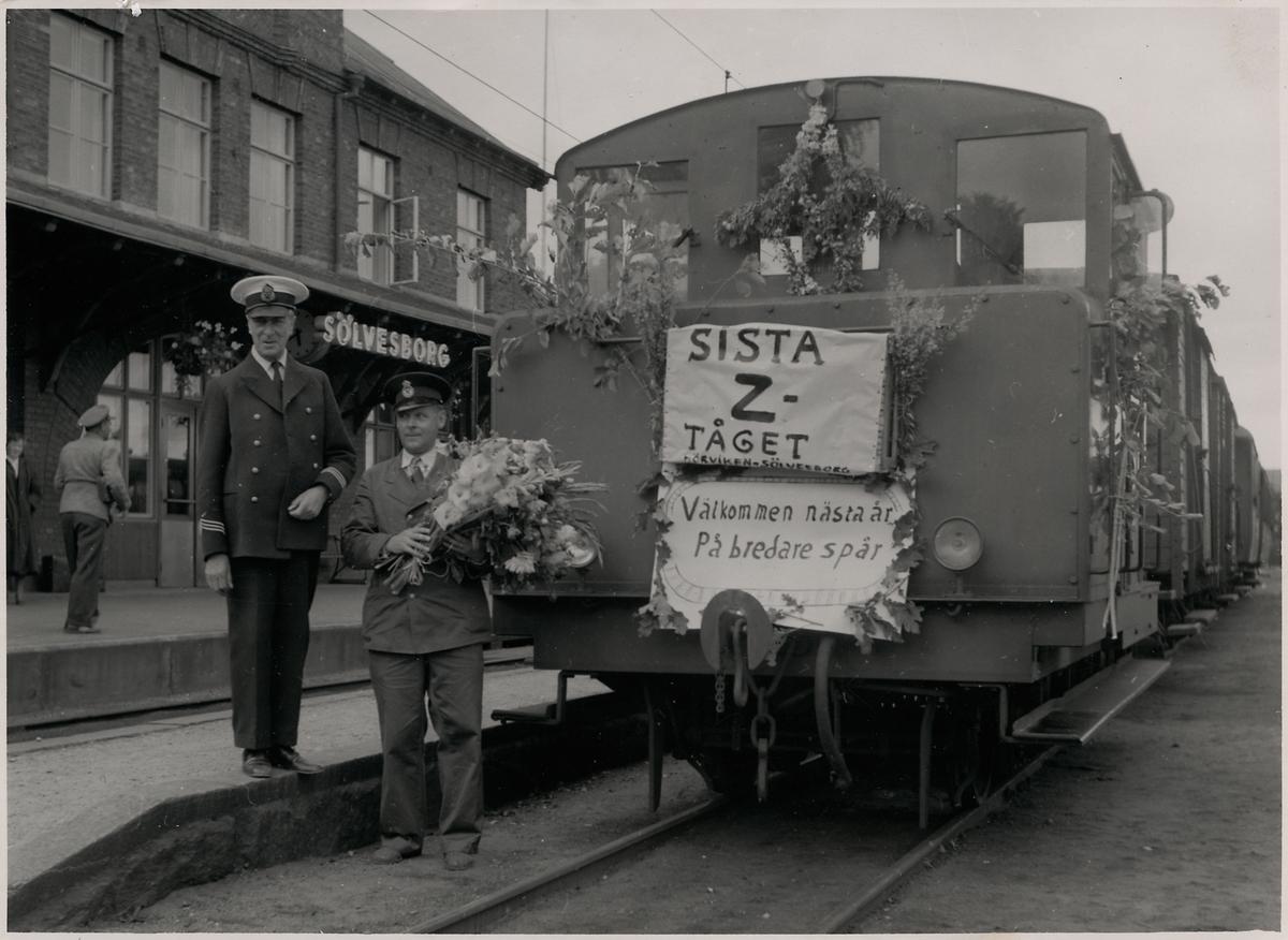 Sista Z-tåget från Listerbanan--Sölvesborg--Hörviken. Stins Sigfrid Lindh Lokförare Gösta Brodin Banan nedlagd 1956-10-01 SCJ,  Sölvesborg - Kristianstads Järnväg