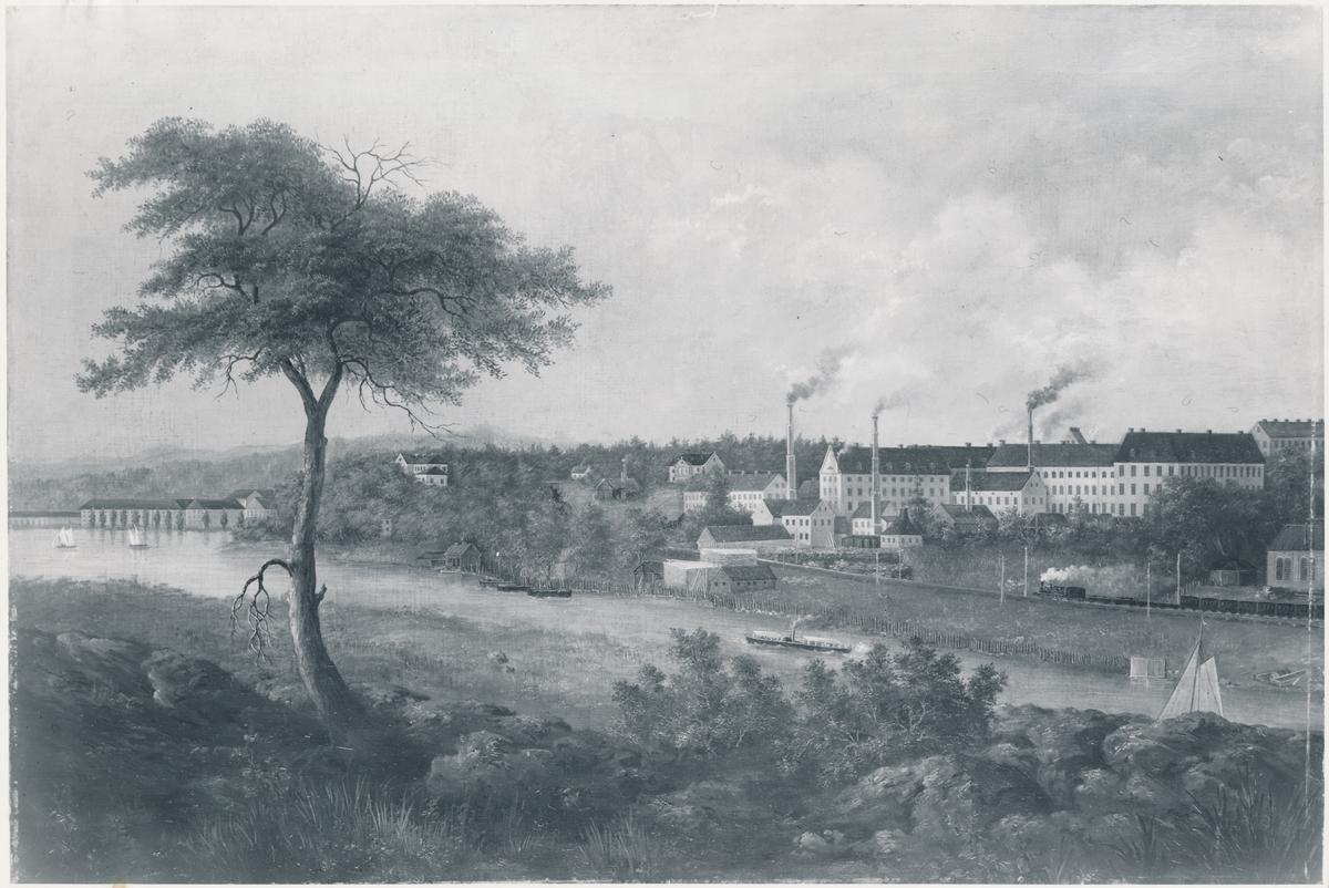 Rörstrands Porslinsfabrik, Stockholm med ett tåg mot Karlberg.