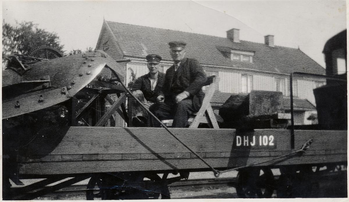 Dannemora Harg Järnväg, DHJ godsvagn 102 vid Gimo station.