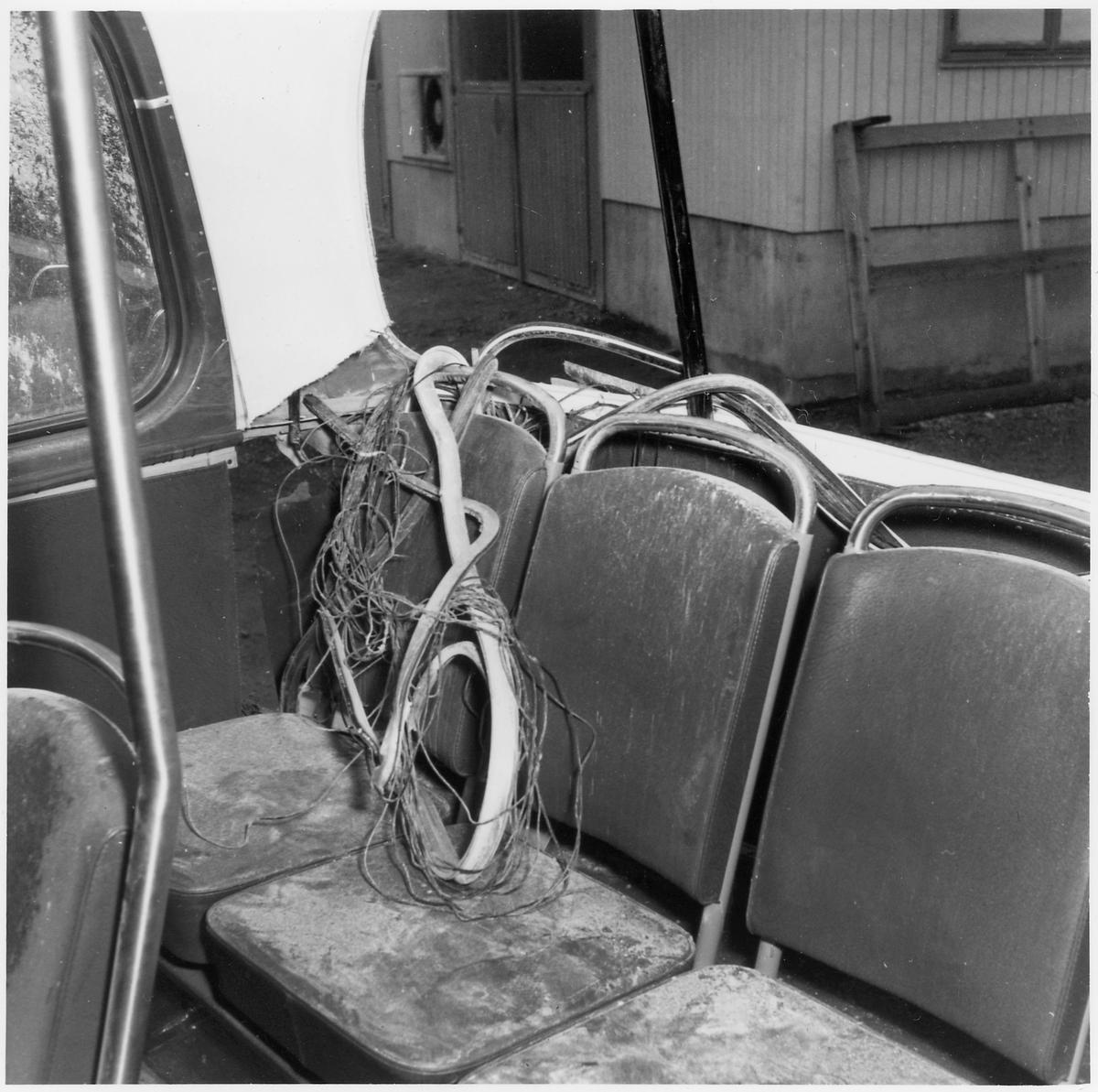 Krockskadad buss. Passagerarens plats.