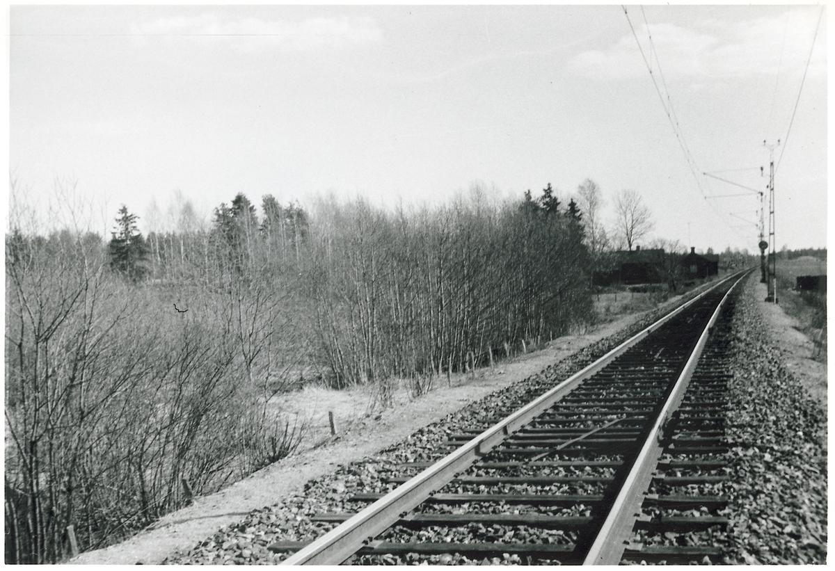 Järnvägsspår på sträckan mellan Skogsbo och Tierp. I bakgrunden skymtas Skämsta banvaktstuga.