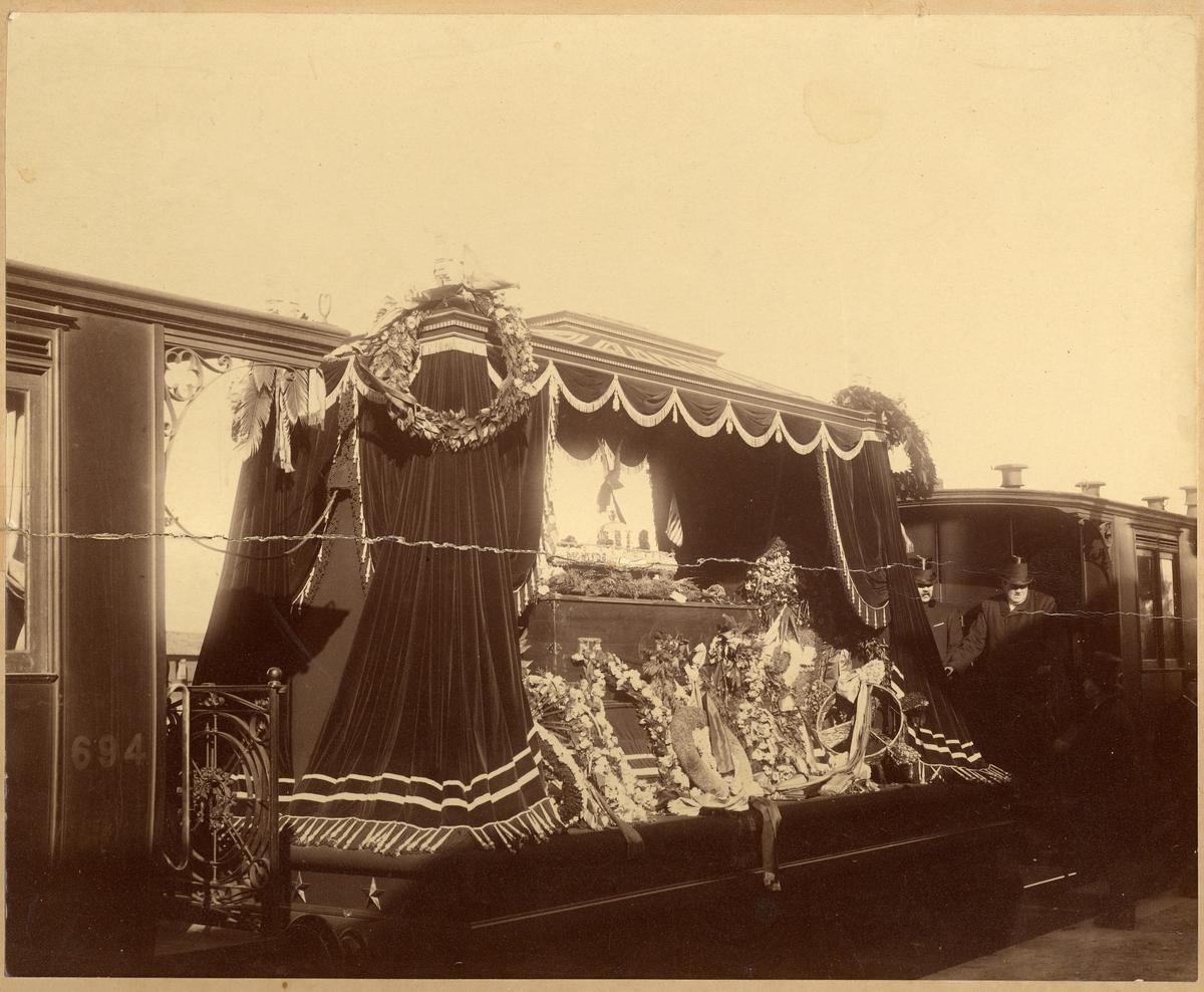 John Ericssons likfärd från USA till Filipstad. Fotot från Kil. John Ericsson född 31/7 1833 död 8/3 1889