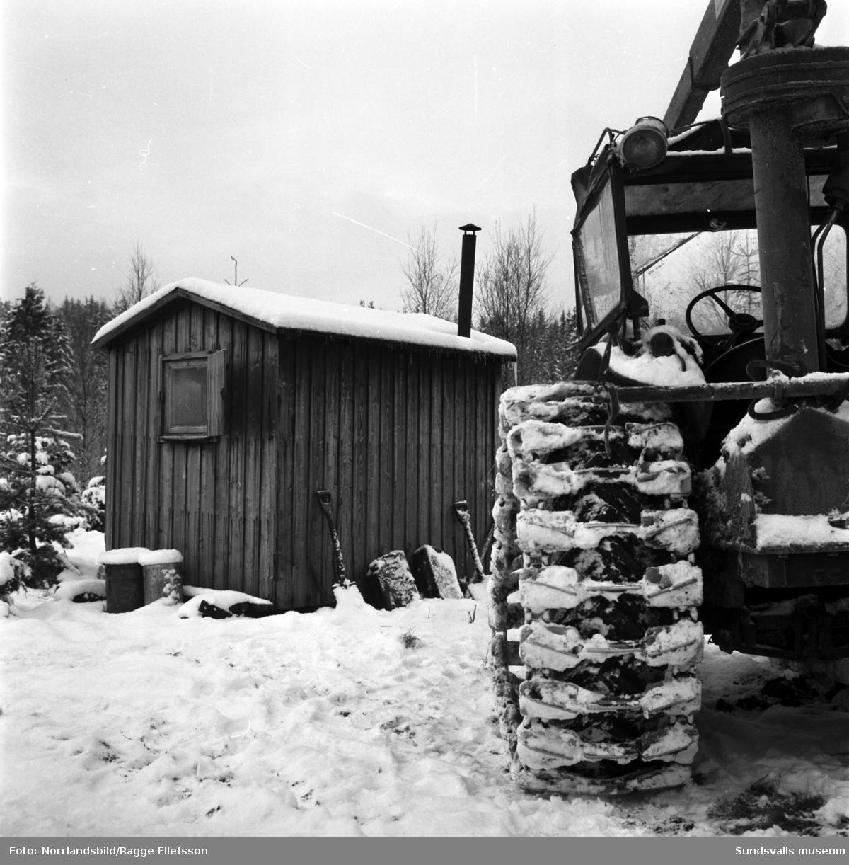 En liten skogskoja i Sidsjöbodarna. Intill står en stor skogsmaskin.