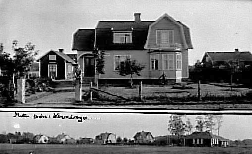 """Sandhem, Vinninga.Ägare 1997 Ingemar Lans. Tidigare ägare Bertil Olsson, Erik Johansson (""""Farmarn""""), Sandell.På 1930-talet var det tre lägenheter i huset. En av hyresgästerna drev ett hembageri i lilla huset åt vänster och en annan hyresgäst vid namn Berg hade här skomakeri."""
