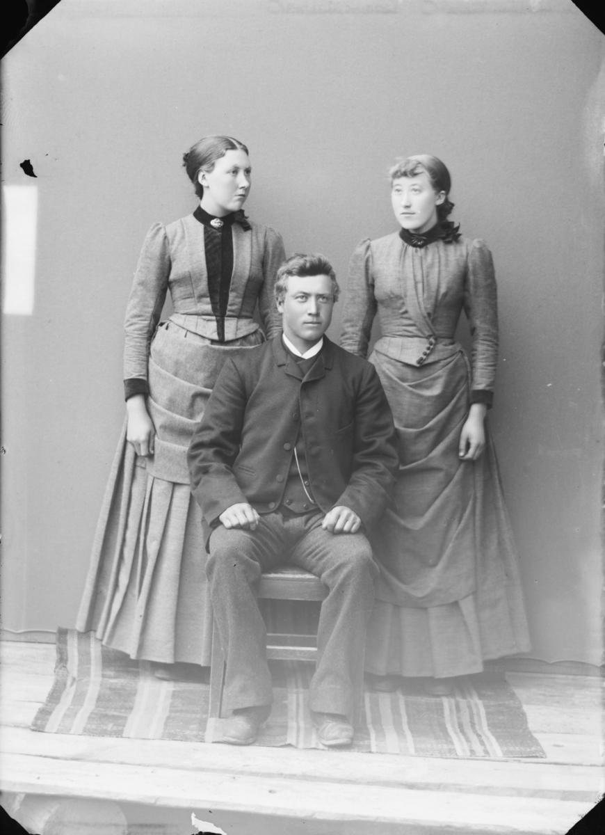 Gruppe bestående av 2 damer og 1 mann, antatt søsken eller ektefeller med søster. Antatt etter MPLs regnskapsbok kan den ene dama være Mari Jakobsdatter Storli og mannen Torstein Storli. I folketelling 1875 bodde Mari J Storlien i Skjåk, f 1864.
