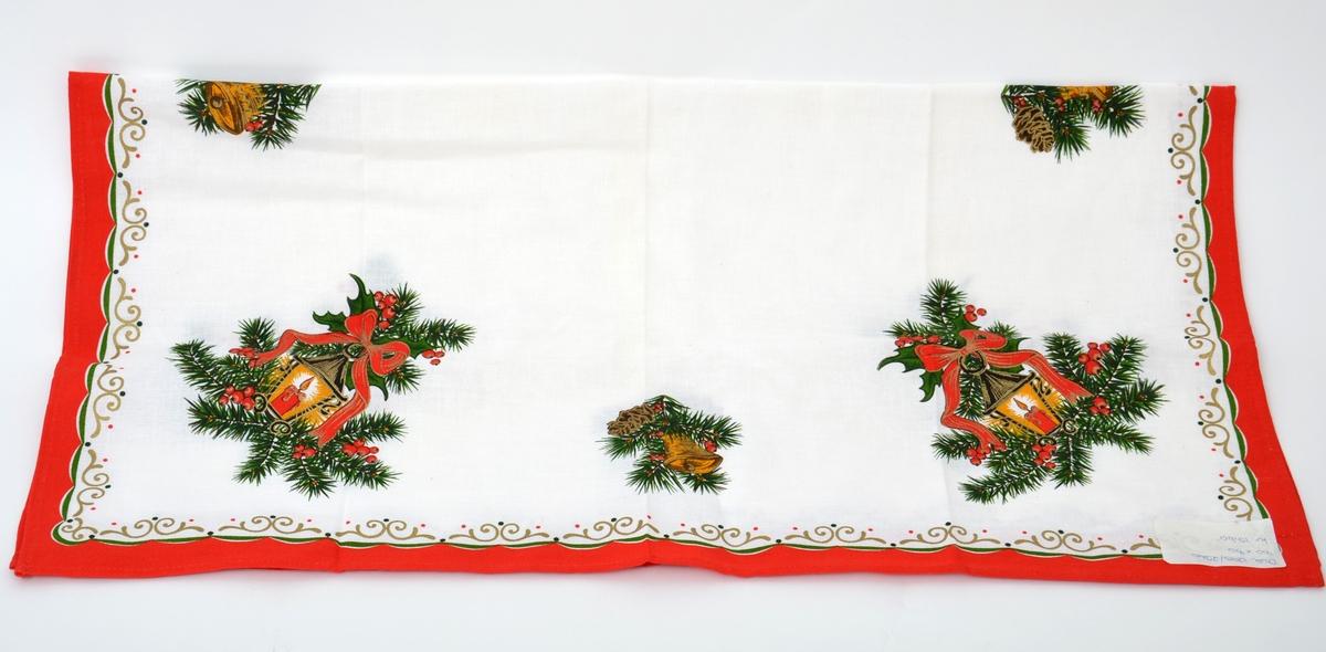 Kvadratisk juleduk i bomull med trykt julemotiv.