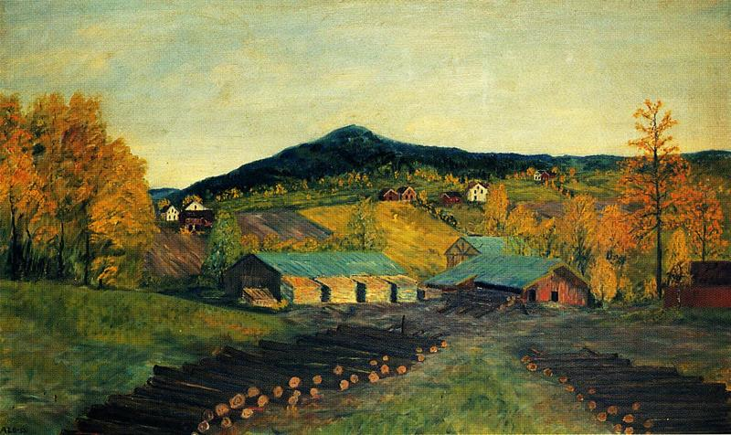 Tømmervelta med Sem sag. Maleri av Albert Seheim, 1953.