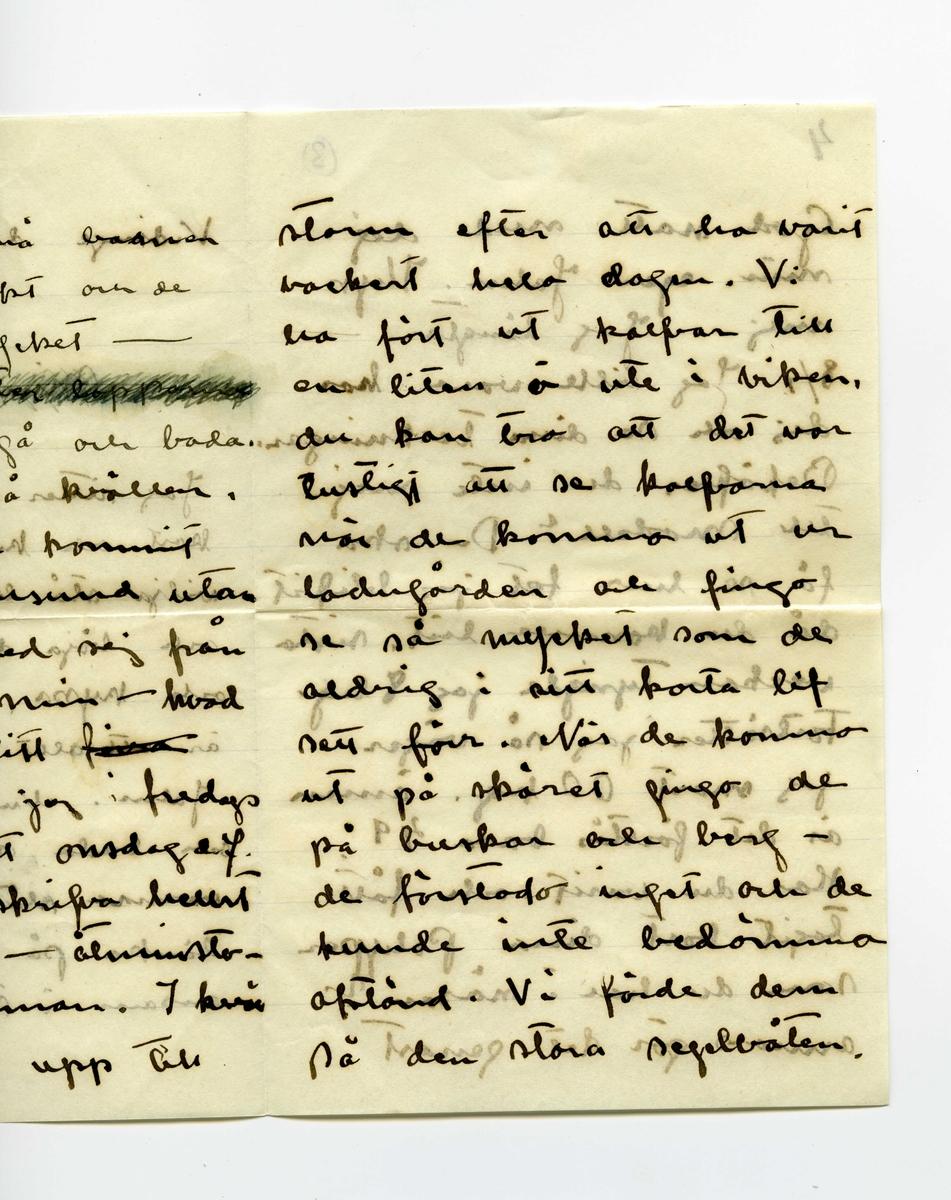 """Brev 1909-07-07 från Esther Bauer till John Bauer, bestående av åtta sidor skrivna på båda sidor av tre pappersark (det ena vikt). Huvudsaklig skrift handskriven med svart bläck. På sista raden finns två liggande, spetsiga ovaler inritade före """"Din"""". Förmodligen saknas sidorna 5-8. . BREVAVSKRIFT: . [Sida 1] Vidinge d. 7/7 09  Min John  Jag sitter och ser på dina kort och kysser dej. Jag skulle vilja stå bakom din stol och böja ditt hufvud bakåt och kyssa, kyssa dej. Jag är [överstruket: att] allt bra kär i dej John. Nu skall jag gå och bada, och ligga på de varma släta stenarna och tänka på dej. Jag är ensam i stugan och mår . [Sida 2] utmärkt. De små barnen må också utmärkt och de hälsa dej så mycket –  Nej – [överstruket: oläsligt] nu måste jag gå och bada. Nu är kl 10 på kvällen. JahnErik har kommit hem från Furusund utan att ha bref med sej från dej. Johnne min – hvad betyder det. ditt [överstruket: fina] sista bref fick jag i fredags och nu är det onsdag e.f. Du skall ju skrifva hellst för hvarje dag – åtminsto- ne för hvarannan. I kväl tycks det blåsa upp till . [Sida 3] storm efter att ha varit vackert hela dagen. Vi ha fört ut kalfvar till en liten ö ute i viken, du kan tro att det var lustigt att se kalfvarna när de kommo ut ur ladugården och fingo se så mycket som de aldrig i sitt korta lif sett förr. När de kommo ut på skäret gingo de på buskar och berg –  de förstodo inget och de kunde inte bedöma afstånd. Vi förde dem på den stora segelbåten . [Sida 4] 4             3 God natt med dej min egen John. Kyss mej. Jag längtar –  8/7. Jag ville vara hos dej och se dina teckningar. Behöfver du inte mej till modell? Du ska få se hur fet jag blifvit då du kommer hit. sista veckan tyngde jag 8 hg. Fortsätter jag så väger jag mot 60 kg. ännu är det förstås bara 49. Har du varit och fått tagit bort dina Polyper som du har i näsan? annars gör det genast . [Kommentar: Förmodligen saknas sidorna 5-8] . [Sida 9] 9. Jag skall ut på, jag skall gå upp på ett berg så att """