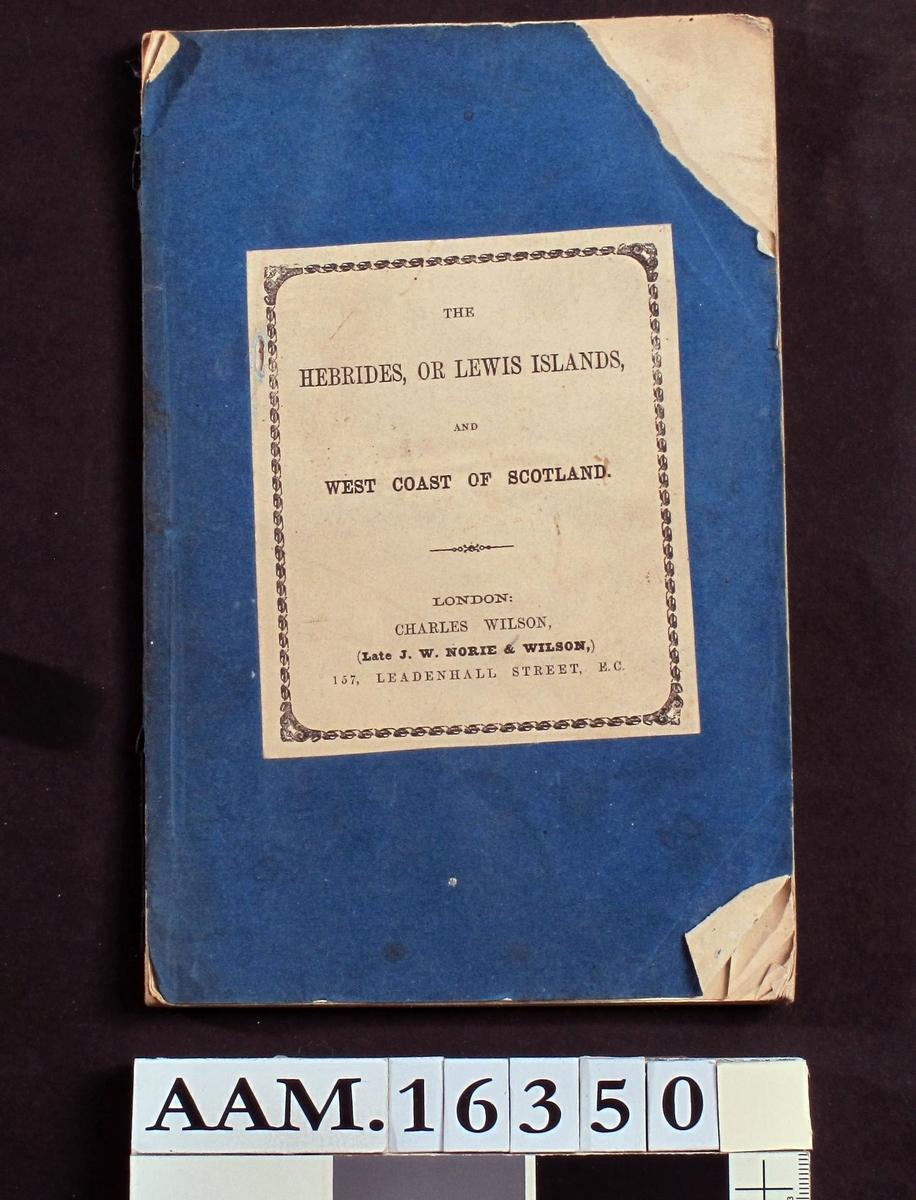 Sailing Directions for the Hebrides, or tm Lewis Islands and the West Coast  of Scotland. 1864.  Blått omslag.  Litt fillet og avrevet forperm. Uten navn.