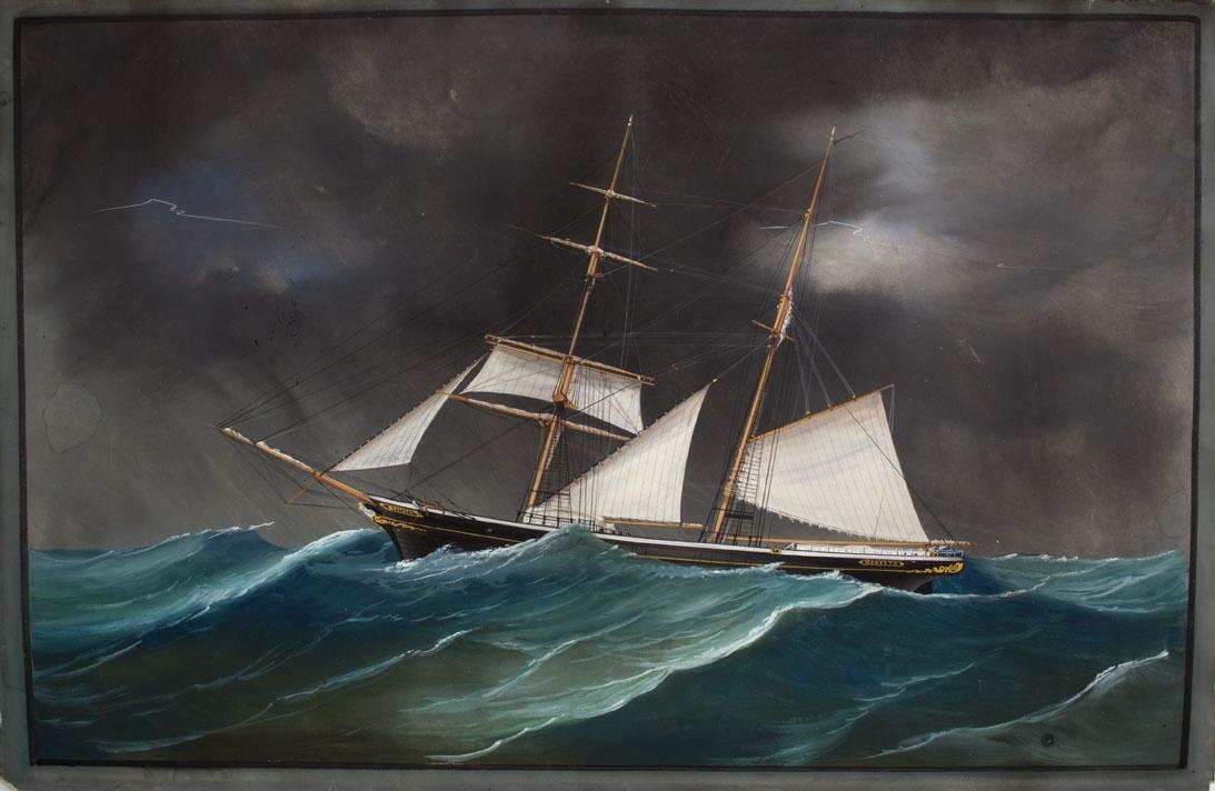 Skipsportrett av skonnertbrigg MODESTA i grov sjø med redusert seilføring.