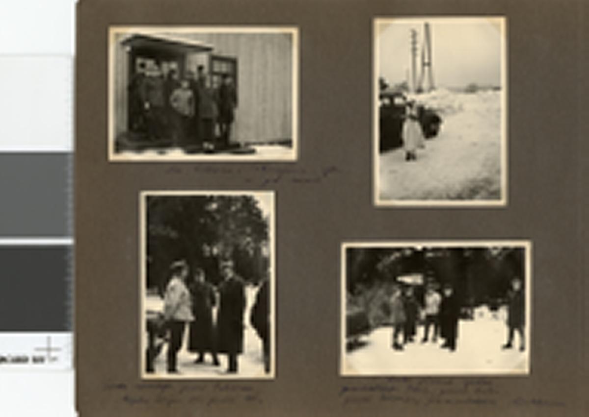 """Text i fotoalbum: """"Studieresa med general Alm till Finland 1.-12. mars 1939. Hos lottorna i Tohmajärvi efter en god lunch."""""""