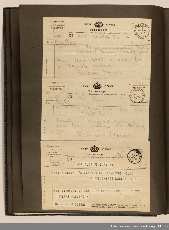 Album laget av Sissel Lie, senere Bratz (1922-1983). Foto og utklipp fra tiden hun tjenestegjorde i Den norske hærs kvinnekorps i Storbritannia under andre verdenskrig. Hun oppnådde graden fenrik i kontrolltjenesten. Albumet har tittelen Sissels Scrapbook fra 1944-45. Side 33: Gratulasjoner og lykkeønskninger sendt til brudeparet Sissel Lie og Gunnar Fosse.