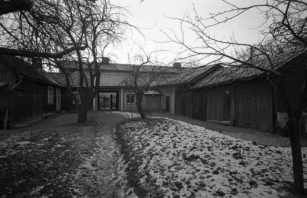 Bostadshus i ett plan. Kringbyggd gård med grind mot gatan. Uthus/förråd. Snö i trädgården. Fotografens anteckning: Dokumentation av fastigheter i kvarteren söder och norr om ån. Bilder och beskrivning finns på Arboga museum.