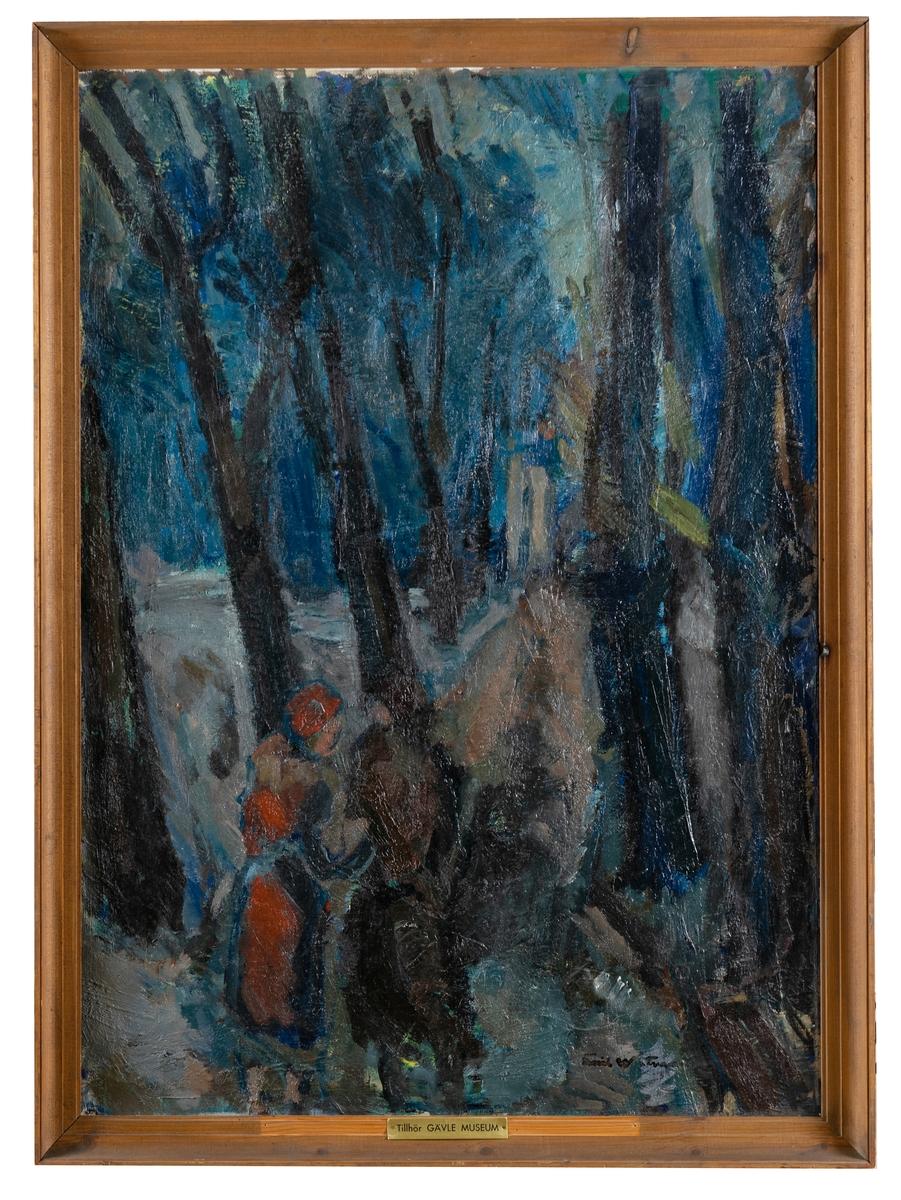 """Oljemålning, på duk, """"Fra Kongens have"""" av Emil Westman."""