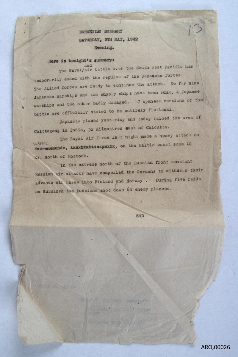 Manuskript fra den norske nyhetssendingen fra London 9.mai 1942.