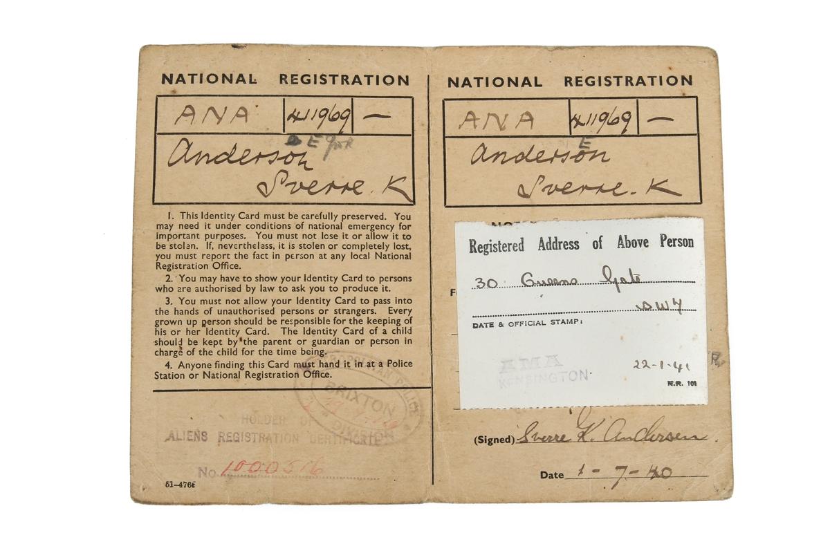 Legitimasjon som har tilhørt Sverre K. Andersen, datert 01. Juli 1940
