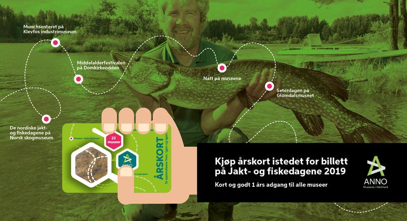Webbanner med informasjon om at man kan kjøpe årskort i stedet for billett til jakt- og fiskedagene. Bakgrunnsbilde av Kjetil Rukan med ens tor gjedde.