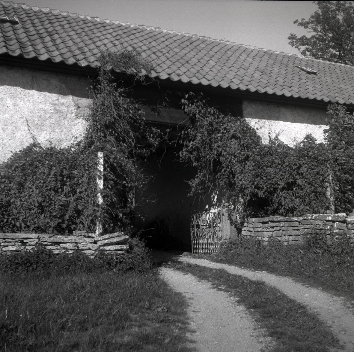 Prästgården i Sandby, kalkstensmur och ekonomibyggnad.