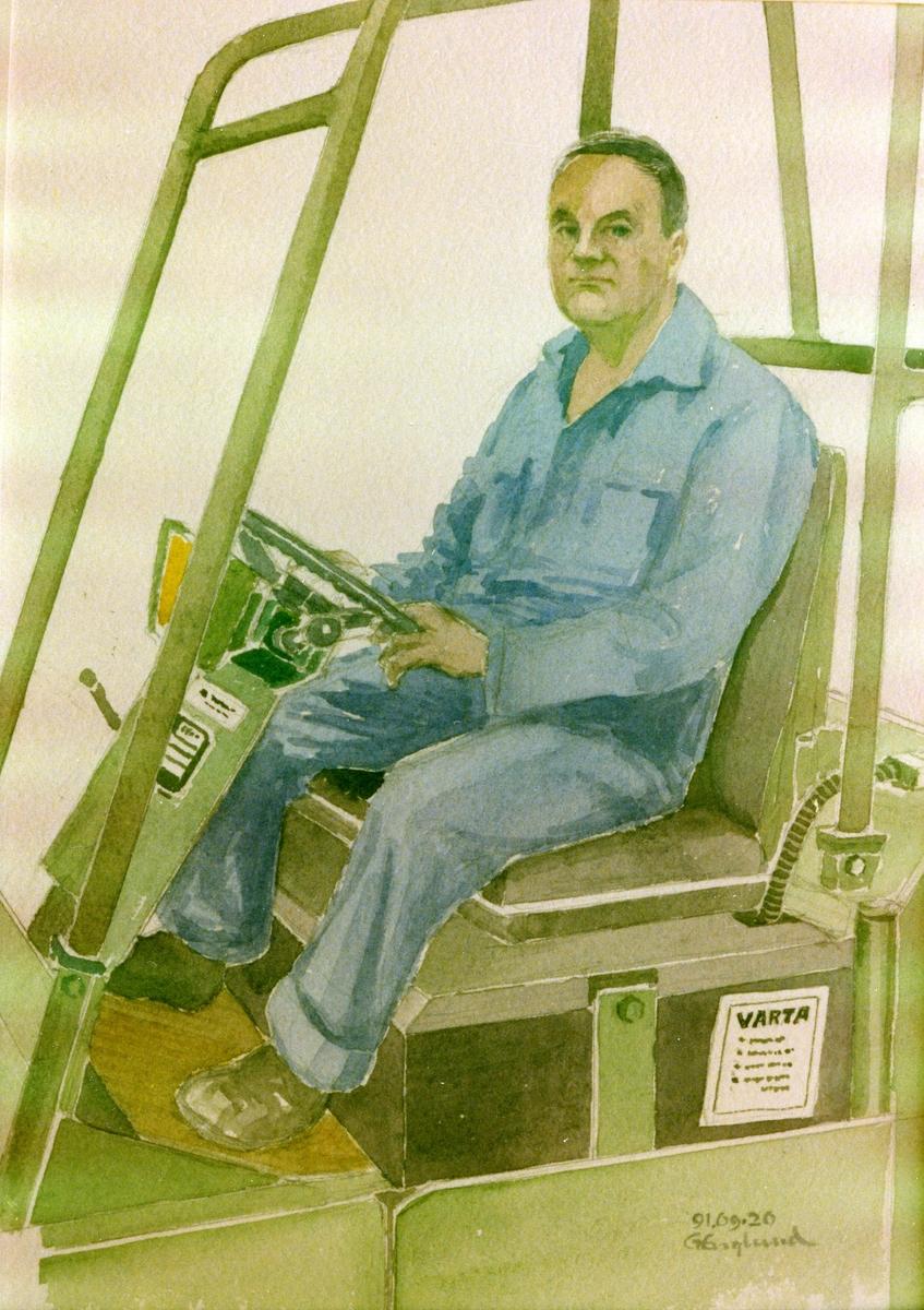 Erland Nord. 1991.09.20. AGEVE. Georg Englunds akvareller av/till arbetarna i Gävle när AGEVE flyttade 1993. En utställning i Paris 1993. Akvarellerna ställdes även ut i lunchrummet på AGEVE.