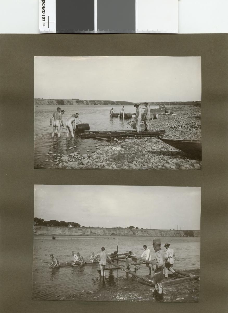 Elever från Krigsskolan Karlberg förbereder brobygge över vattendrag.