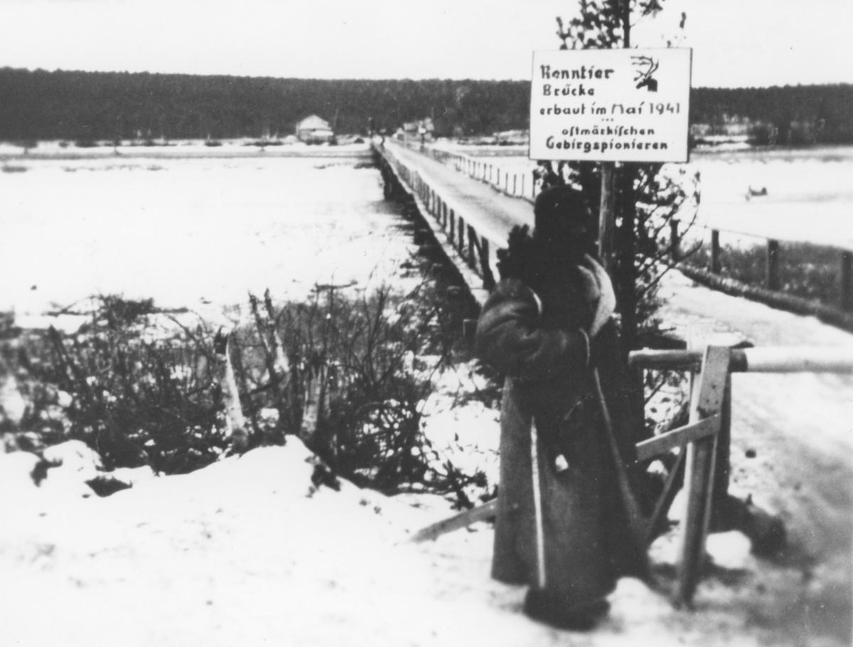 Bru ved Nyrud i 1941 under tysk okkupasjon.