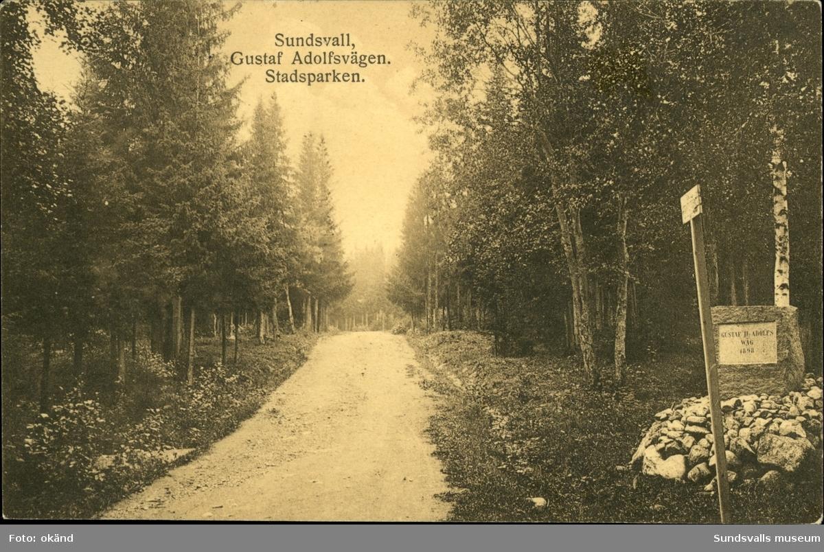 Vykort med motiv över Gustaf- Adolfsvägen i Sundsvall.