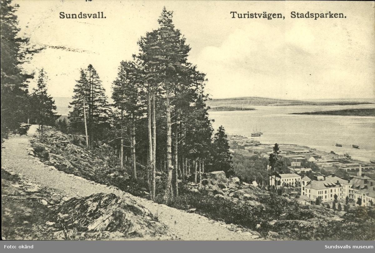 Vykort med motiv över Hamnen i Sundsvall från Turistvägen.