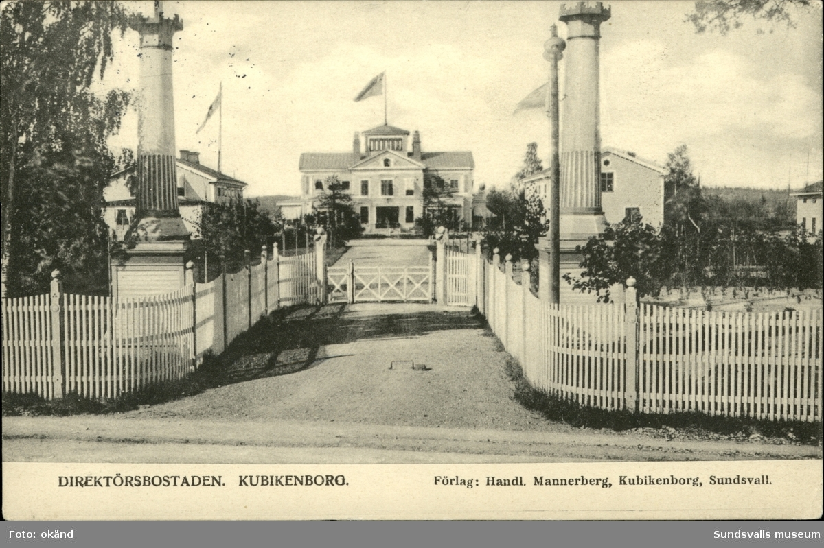Vykort med motiv över Kubikenborgs herrgård i Sundsvall.