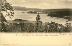 Vykort med motiv över sjön Marmen med Ljungans utlopp i bakg