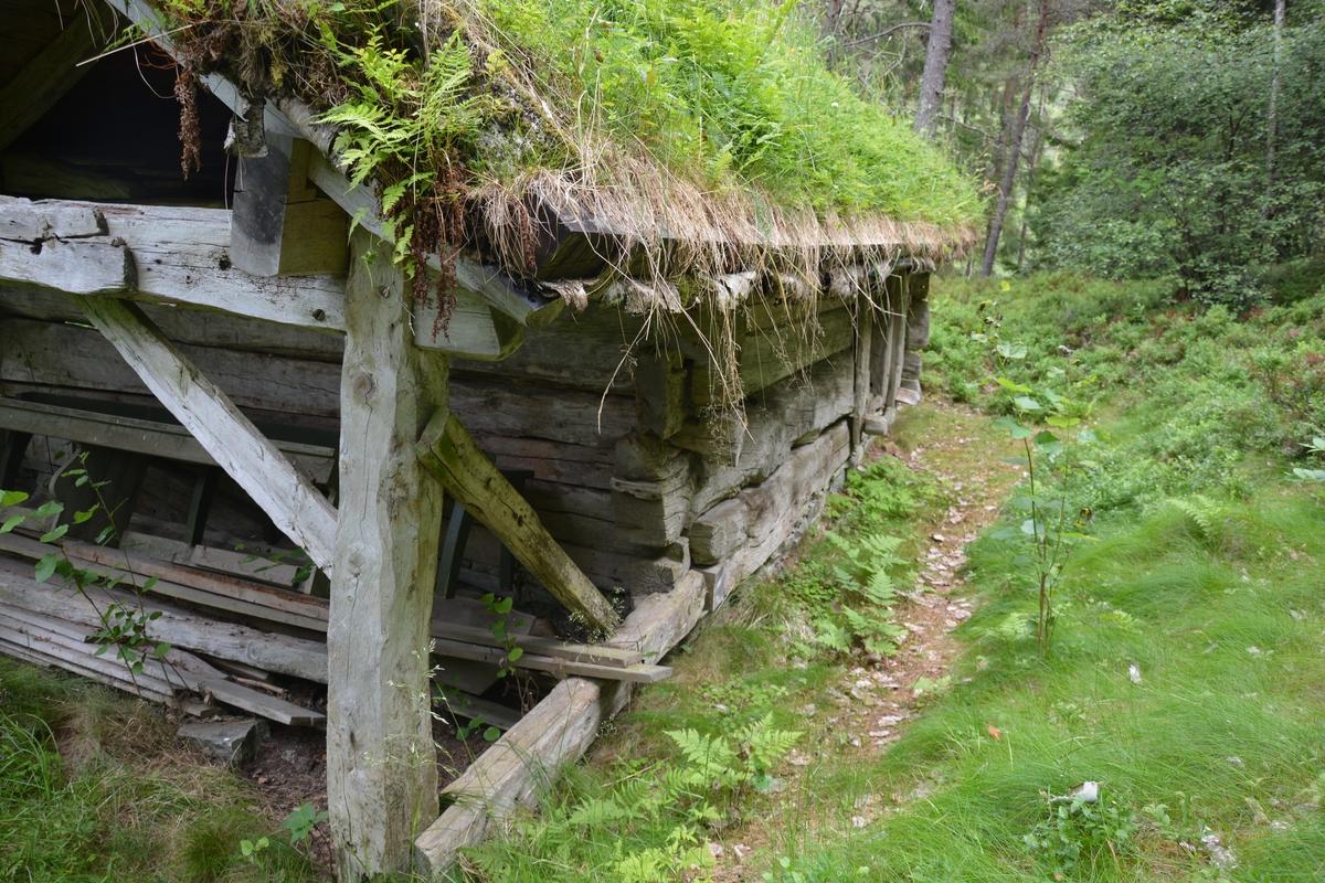 Lafta hovedrom (fjøs) med grindbygg i enden (lade). Torvtak.