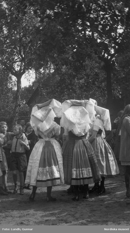 Motiv: Utlandet, Spreewald 92 - 101 ; Kvinnor i folkdräkt fotograferade bakifrån, landskapsvy med vatten och träd, porträtt av fyra flickor som håller händer och två kvinnor som står på trappan till ett hus.